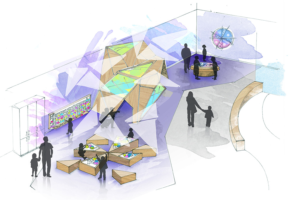 "The ""Shine"" area will include a projected kaleidoscope and light tables (Science World)"