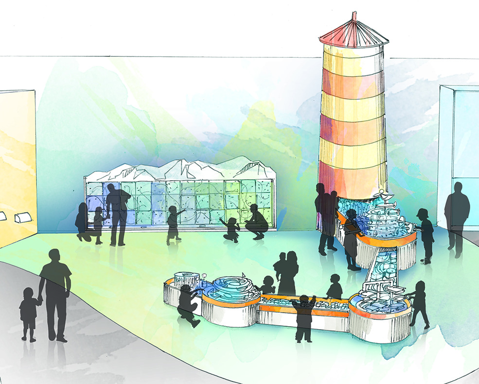 "The ""Splash"" area will feature cascades, a water tower and a boat spiral (Science World)"