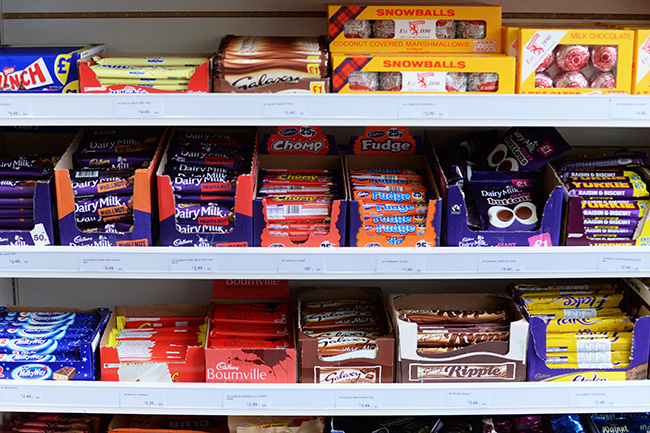 Shelves lined with British candy (Jess Fleming / Vancity Buzz)