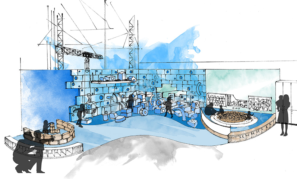 """The """"Build"""" area will include a blue block wall and a build corral (Science World)"""