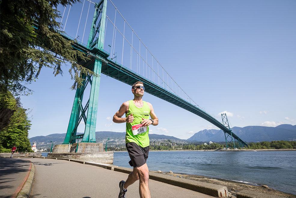 Running the BMO Vancouver Marathon under Lions Gate Bridge (BMO Vancouver Marathon)