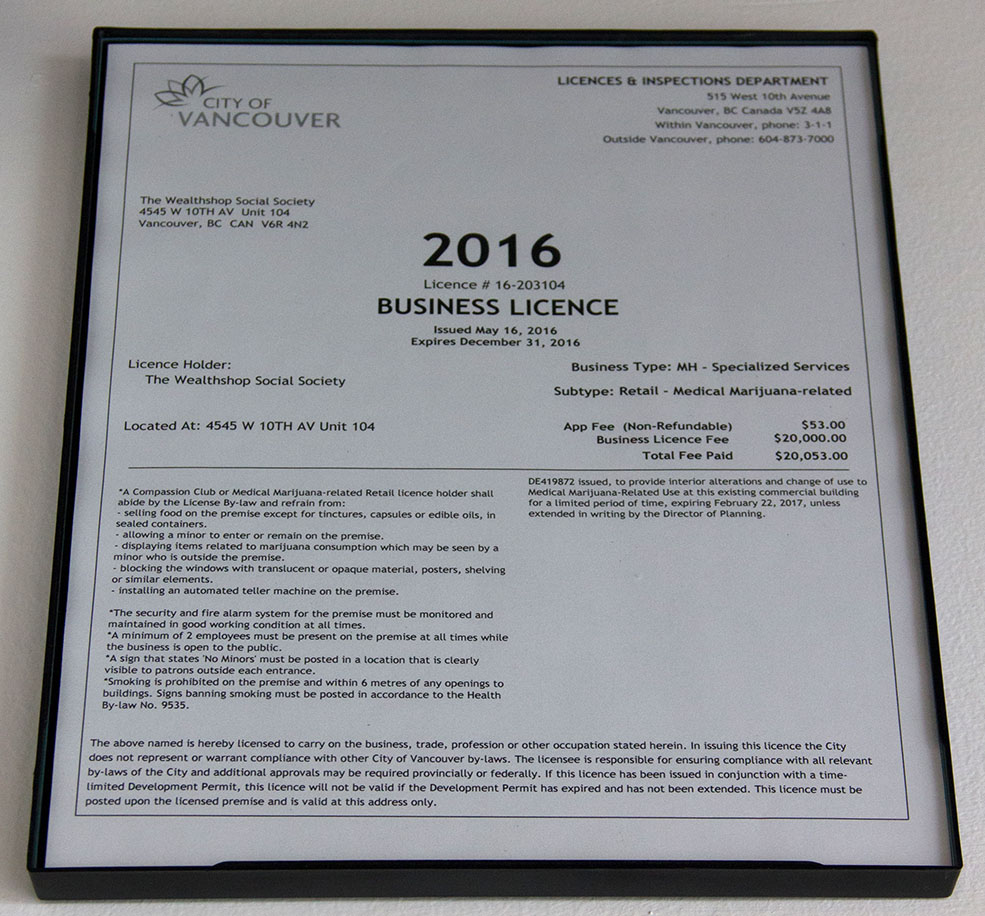 The business licence that started it all, proudly displayed at the Wealth Shop (Jenni Sheppard)