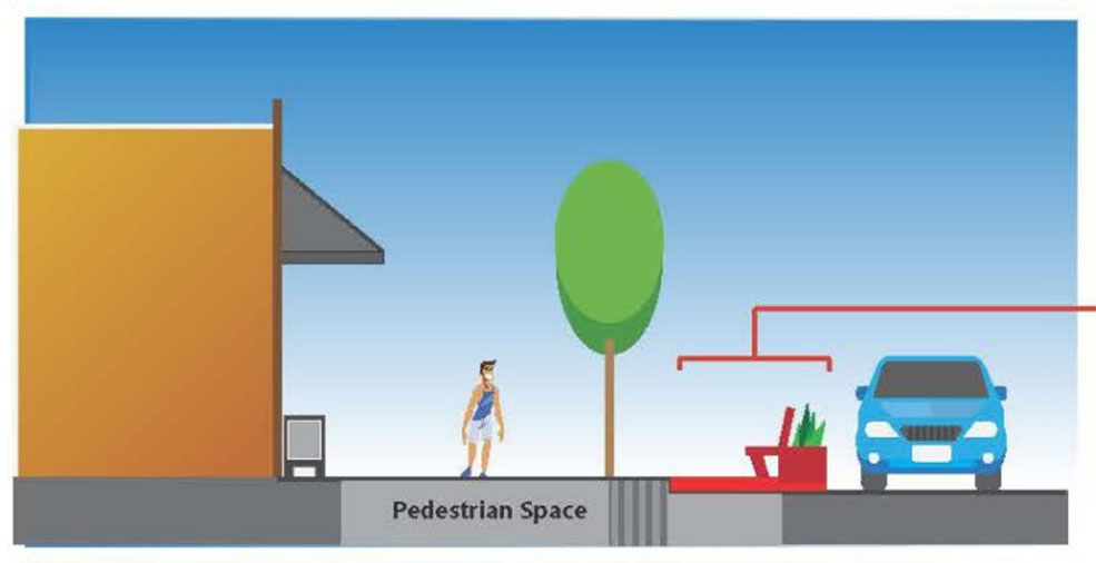 A City staff diagram of a parklet in the parking lane (City of Vancouver)