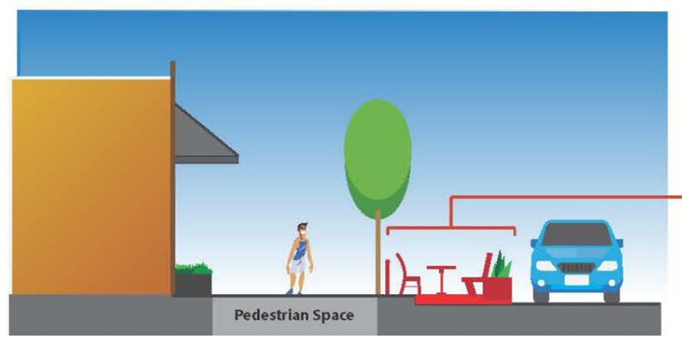 A City staff diagram of a patio in a parking space (City of Vancouver)
