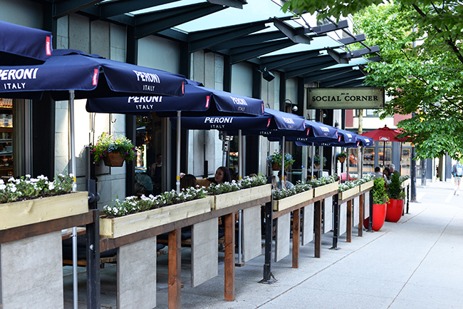 Social Corner's sidewalk patio (Jess Fleming / Vancity Buzz)